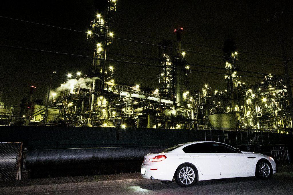 愛車と工場夜景